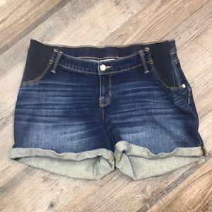 Liz Lange MATERNITY denim jeans cuffed shorts Med
